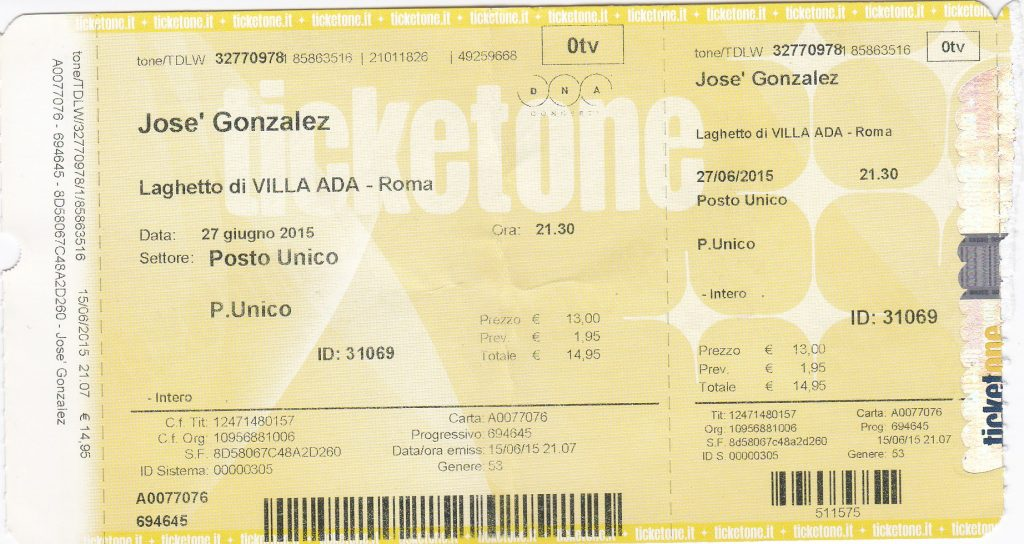 Jose Gonzales ticket